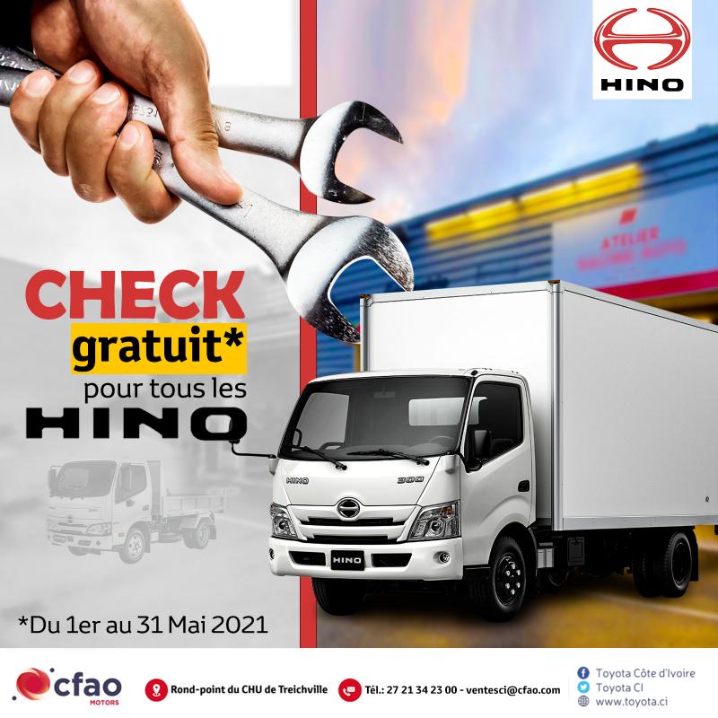 Jusqu'au 31 mai 2021 le Check de votre HINO est gratuit